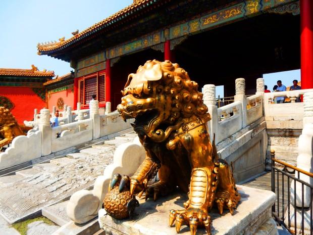 A lion standing guard at the Forbidden City, Beijing
