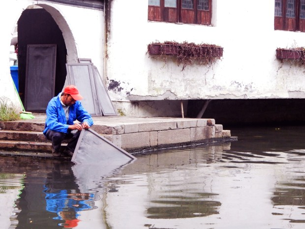Washing up in the canals