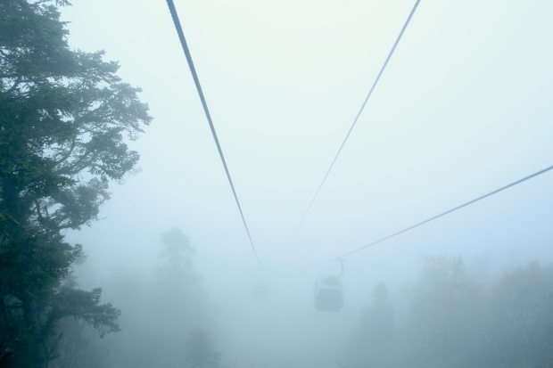 Huanglong National Park - Cable cars in the mist