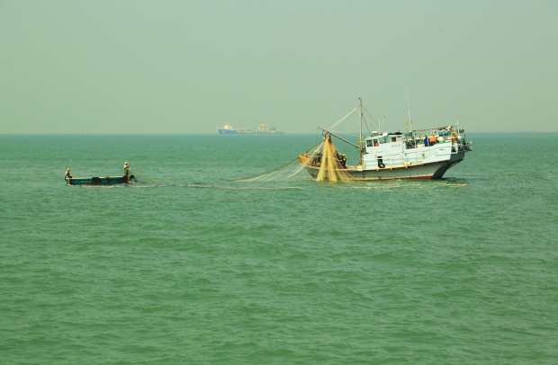 One of the many fishing trawlers in the bay